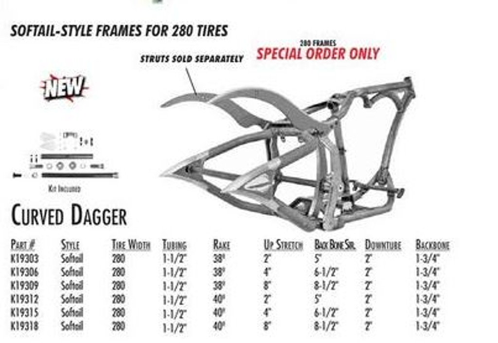 """Curved Dagger / Softail Style 280 SDT / 1-1/2"""" 38 Rake 4"""" Stretch 6.5"""" BBS (Special Order)"""