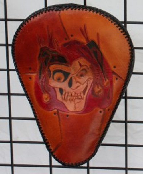 Hand Carved Jester Skull Seat with Custom Lacing One of a kind