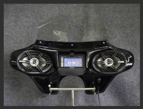 "Black Gelcoat Batwing GPS Fairing with 6""x 9"" Speakers and Stereo Harley Davidson Road King Standard"