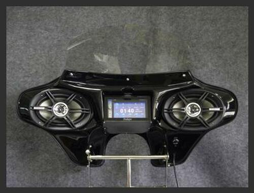 "Black Paint Batwing GPS Fairing with 6""x 9"" Speakers & Stereo Suzuki Boulevard 2005-2014"
