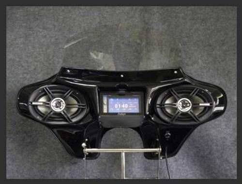 "Black Paint Batwing GPS Fairing with 6""x 9"" Speakers & Stereo Kawasaki Vulcan 2000 Classic"
