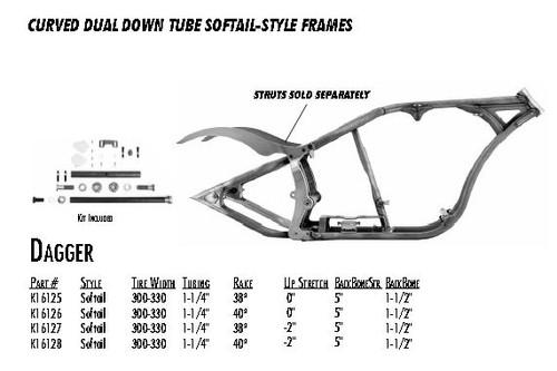 "Dagger / Softail Style 300/330 DDT / 1-1/4"" 38 Rake 0"" Stretch 5"" BBS 1-1/2"" Backbone"