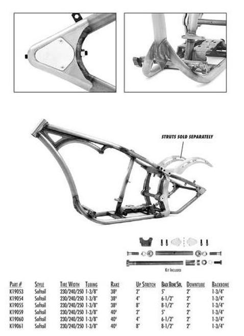 "Softail Style 230-250 Tire SDT / 1-3/8"" Tube / 38 Rake 8"" Stretch 8.5"" BBS"