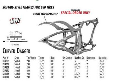 """Curved Dagger / Softail Style 280 SDT / 1-1/2"""" 40 Rake 8"""" Stretch 8.5"""" BBS (Special Order)"""
