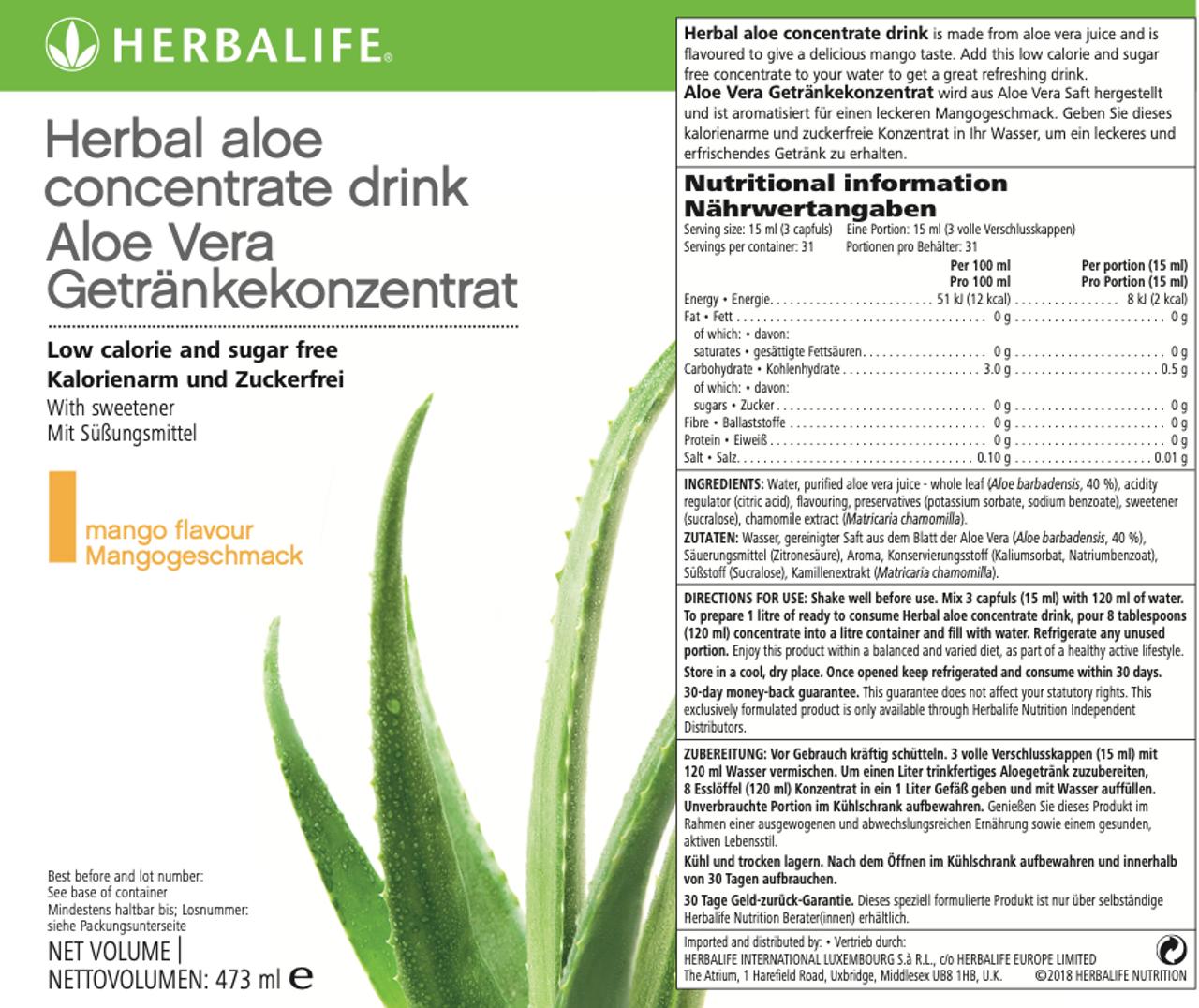 Independent Herbalife Nutrition Member Herbalife Herbal Aloe Concentrate Mango 473ml