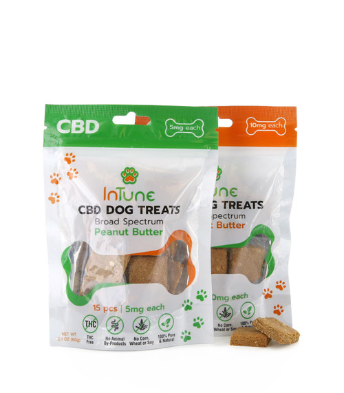 Peanut Butter Flavored Broad Spectrum CBD Dog Treats 5mg and 10mg