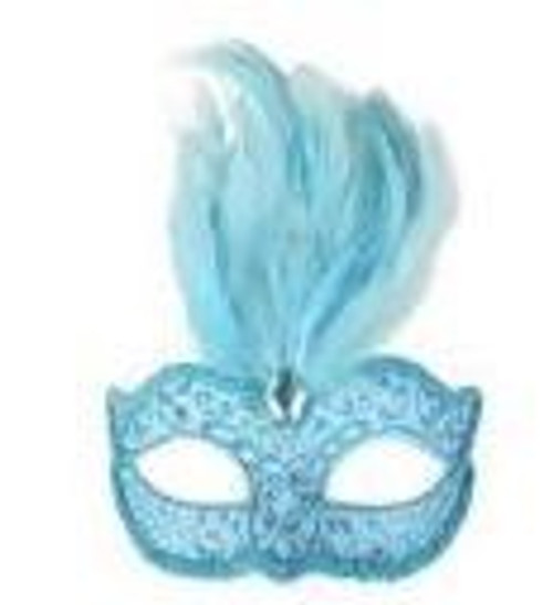 Eyemask Masquerade Dianella Pale Blue with Feathers