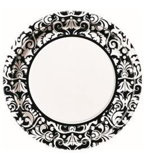 Black Damask Dinner Plate