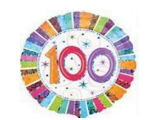 Radiant Birthday 100 Prismatic Foil Balloon