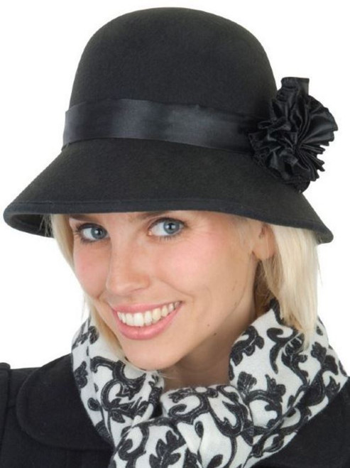 20's Flapper Cloche Black with Flower