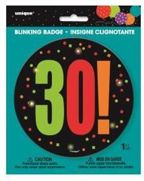 Birthday Cheer Large Blinking Badge 30