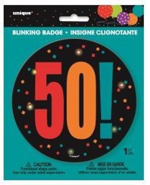 Birthday Cheer Large Blinking Badge 50