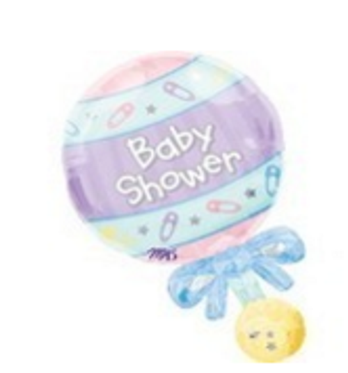 Baby Shower Rattle Supershape Foil Balloon