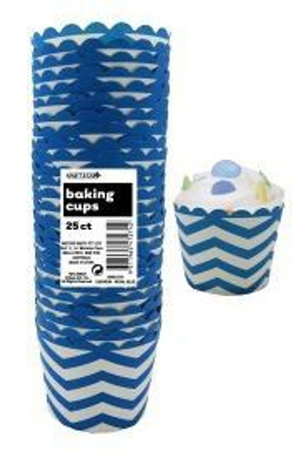 Baking Cups Chevron Royal Blue