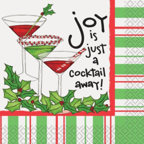 Christmas Cocktail Napkin - Joy is just a Cocktail Away