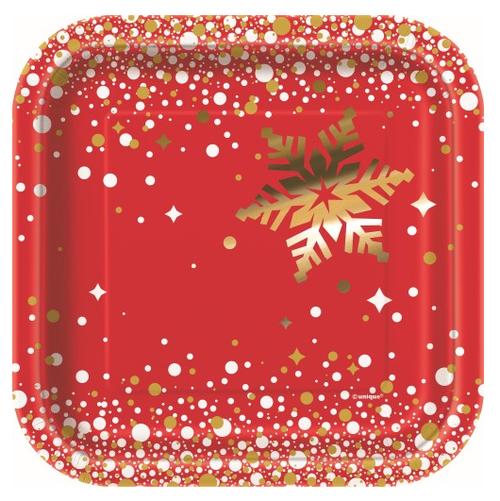 Gold Sparkle Christmas Dessert Plate