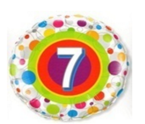 Colourful Dots Age 7 Foil Balloon