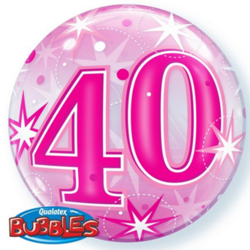 40 Pink Starburst Bubble Balloon