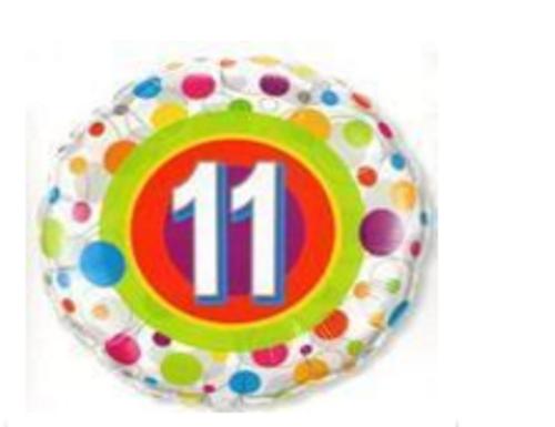 Colourful Dots Age 11 Foil Balloon