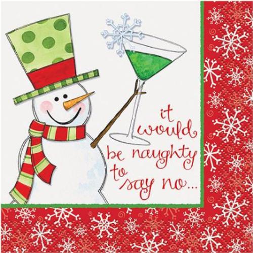 Christmas Cocktail Napkin - Naughty to Say No