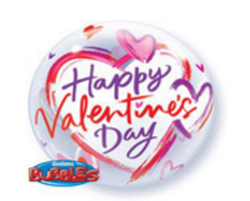 Brushed Hearts Valentines Bubble Balloon