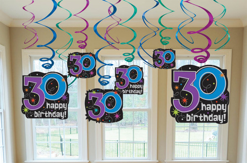 30 The Party Continues Hanging Swirl Decorations