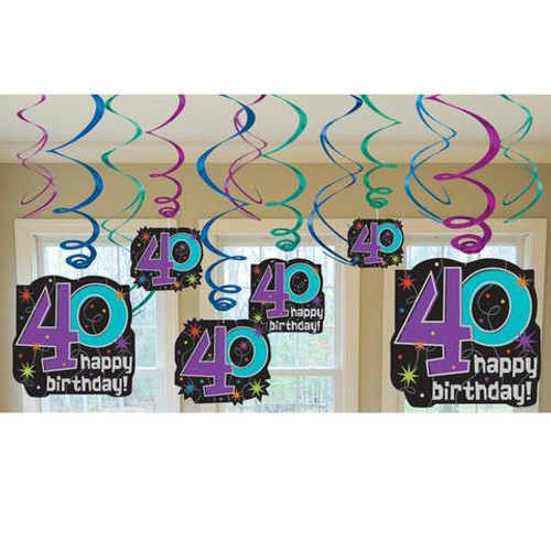 40 The Party Continues Hanging Swirl Decorations