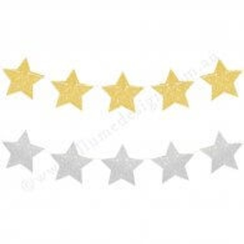 Gold and Silver Glitter Star Reversible Garland