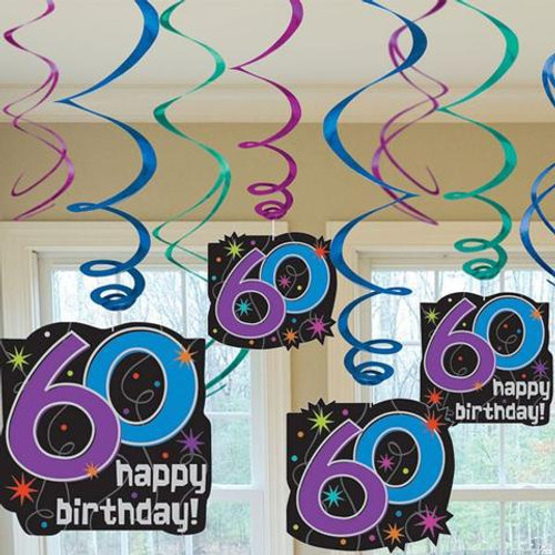 60 The Party Continues Hanging Swirl Decorations