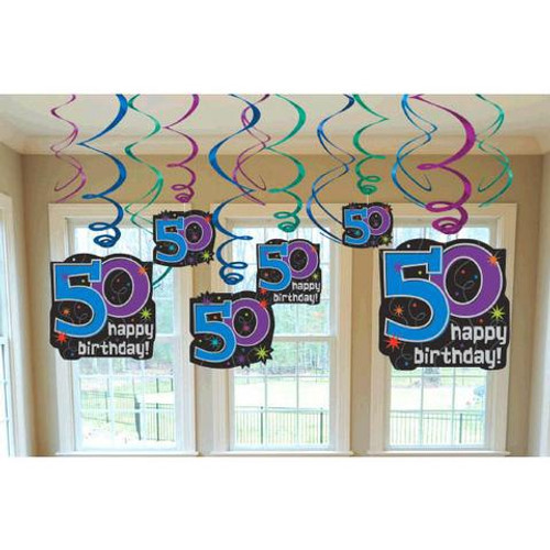 50 The Party Continues Hanging Swirl Decorations