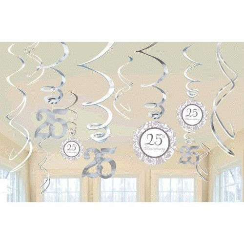 25th Anniversary Hanging Decorations Silver