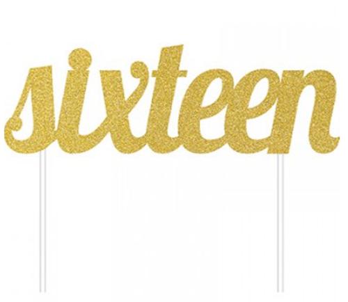 Cake Topper Sixteen Gold Glittered