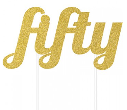 Cake Topper fifty Gold Glittered