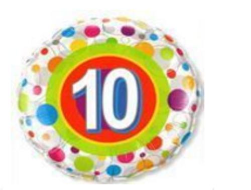 Colourful Dots Age 10 Foil Balloon