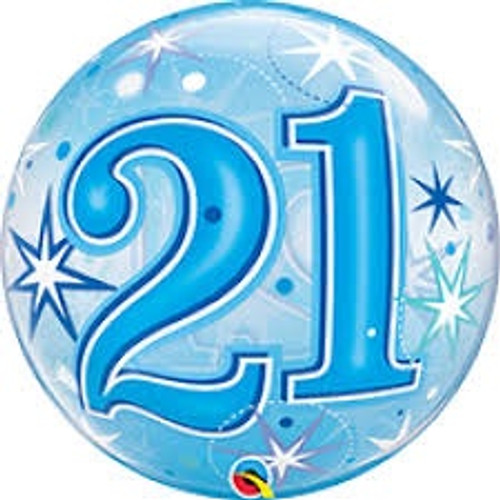 21 Blue Starburst Sparkle Bubble Balloon