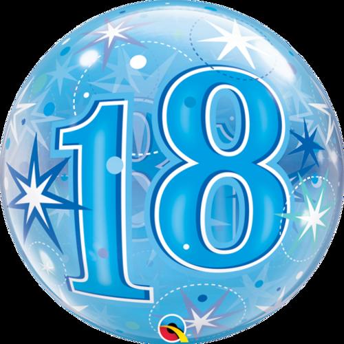 18 Blue Starburst Sparkle Single Bubble Balloon