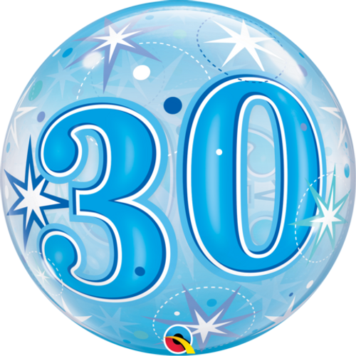 30 Birthday Blue Starburst Sparkle Bubble Balloon