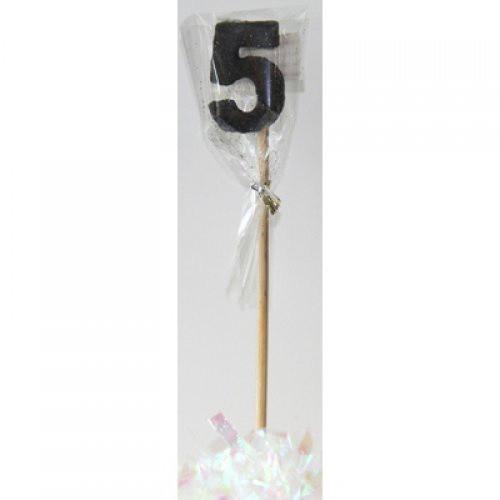 Black Glitter Long Stick Candle #5