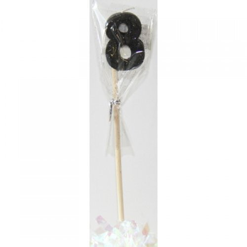 Black Glitter Long Stick Candle #8