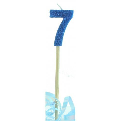 Blue Glitter Long Stick Candle #7