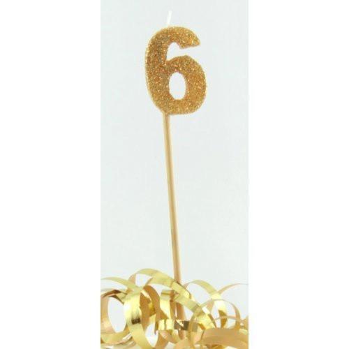 Gold Glitter Long Stick Candle #6