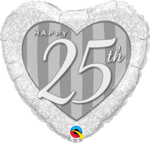 Happy 25th Damask Heart Foil Balloon