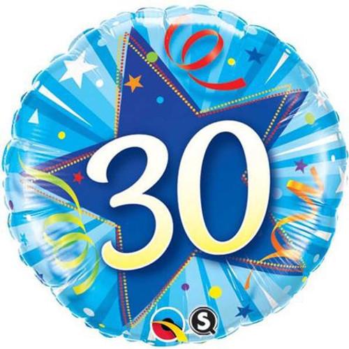 30th Shining Star Blue Foil Balloon