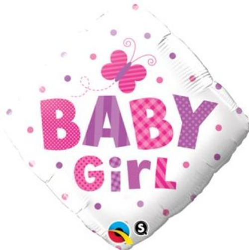 Baby Girl Dots & Butterfly Foil Balloon