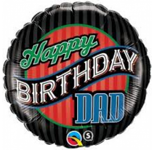 "Birthday Dad Stripes 18"" Foil Balloon"