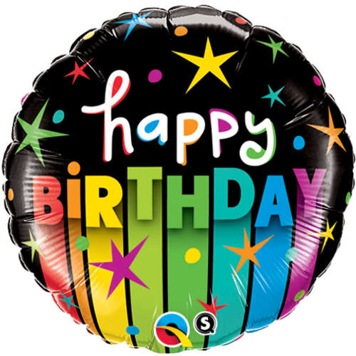 Colourful Stripes Birthday Foil Balloon