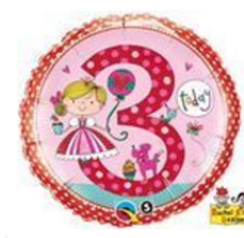 Age 3 Princess Polka Dots Foil Balloon