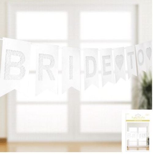Bride To Be Bunting - Shimmer White