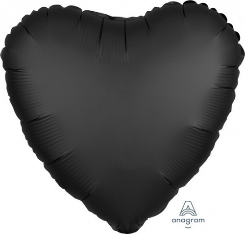 Heart Satin Luxe Onyx Black Foil Balloon