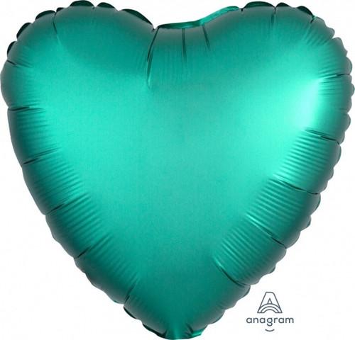 Heart Satin Luxe Jade Green Foil Balloon
